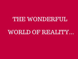 THE WONDERFUL    WORLD OF REALITY...